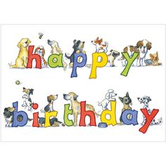 """CODE: A253 NAME: HAPPY BIRTHDAY DOGS PRICE: £1.75 Buy now: https://kmcards.com/product/a253-happy-birthday-dogs/  Presentation: With a white 100gsm,100% recycled,envelope.Blank for your own message Paper Type: Gloss Varnish Artist: Kate Garrett Size: 7x5"""" 