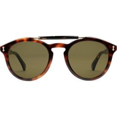 Gucci Round-Frame Acetate Sunglasses (1.095 BRL) ❤ liked on Polyvore featuring men's fashion, men's accessories, men's eyewear, men's sunglasses, mens tortoise shell sunglasses, mens round frame sunglasses and gucci mens sunglasses