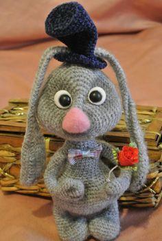 #Rabbit gray. Soft toy. Handmade. Amigurumi. Plush toy for children. Hand-made…