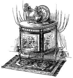 Victorian furniture illustration, black and white clip art, vintage furniture clipart, Louis XV cabinet, antique table image