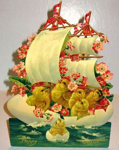 Shop at card factory for easter greeting cards and gifts card vintage easter greeting card 11stand up display chick on sailboat mint shackman negle Images