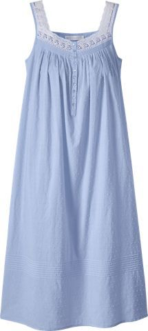Sleep in comfort with our Eileen West Periwinkle Swiss Dot nightgown. This lightweight all cotton nightgown has lace and satin trim along the yoke. Cotton Sleepwear, Sleepwear Women, Pajamas Women, Diva Fashion, Fashion Wear, Fashion Outfits, Pixie Outfit, Nightgown Pattern, Night Dress For Women