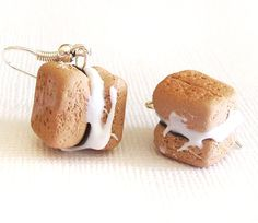 S'mores Earrings Clay Mini Food Earrings with Gram by EmsJewelry, $8.00