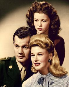 Joseph Cotten, Shirley Temple and Ginger Rogers in a promotional photo for I'll Be Seeing You (1944)