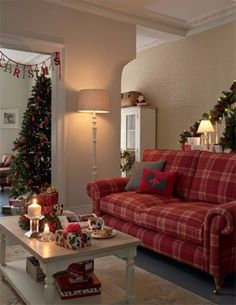 Cozy Christmas and New Year from Laura Ashley Christmas Living Rooms, Christmas Room, Cozy Christmas, Christmas Bunting, Xmas, Cottage Christmas, Christmas Ideas, Cottage Living Rooms, Cottage Interiors