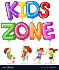 Kids zone with happy kids and balloons vector image on VectorStock