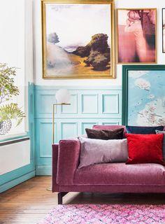 Boho vibes | pink velvet sofa with velvet cushions | blue wall panelling | IKEA Nockeby sofa with a velvet Bemz cover COMING SOON!