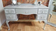 Desk/Dressing table painted in Frenchic chalk paint grey pebble with stencil details