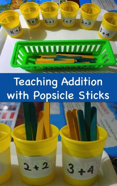Teaching Addition with Popsicle Sticks - you could use any two different colored stuff around the house: straws, strips of colored paper, two different kinds of dried pasta/beans, etc. Teaching Addition, Math Addition, Addition And Subtraction, Kindergarten Addition, Elementary Math, Kindergarten Classroom, Teaching Math, Math Resources, Math Activities