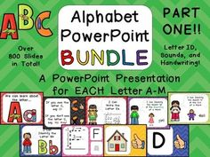 ** Teaching the Alphabet with PowerPoint ** Over 800 Slides in 13 PowerPoint presentations to teach the letters A through M!! The presentations for the other letters (N-Z) are listed in a separate bundle, due to file size limits on TpT :)