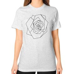 Polygonal rose Unisex T-Shirt (on woman)
