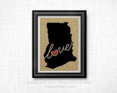 Ghana Love Burlap Printed Wall Art: Print by TraciWithaniDesigns