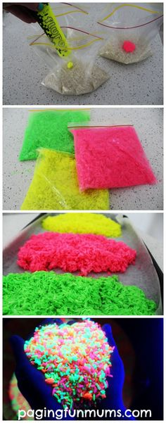 DIY Glowing Rainbow Rice! Sensory Play gone wild!
