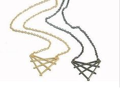 METALLIC WEAVED TRIANGLE NECKLACE - £4.50