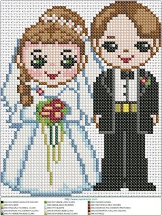 This Pin was discovered by Mer Wedding Cross Stitch Patterns, Modern Cross Stitch Patterns, Cross Stitch Designs, Cross Stitching, Cross Stitch Embroidery, Hand Embroidery, Melty Bead Patterns, Craft Patterns, Kawaii Cross Stitch