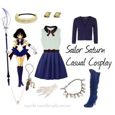 Sailor Saturn Casual Cosplay by cupcake-curiosities on Polyvore featuring polyvore, fashion, style, Great Plains, Marni, Charlotte Russe, Kate Rowland, Pier 1 Imports, Burberry and sailor-sailor