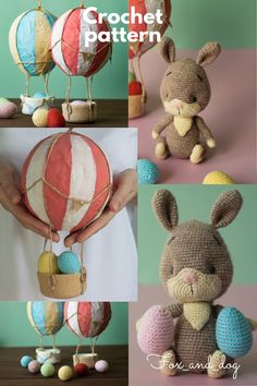 EASTER BUNNY PATTERN The pattern includes the instructions for the bunny and for his pullover Finished bunny measures 18cm (7'). EASTER BASKET WITH EGGS AND BALLOON This easy and cute pattern will help you to make decorations for upcoming Easter holidays! It uses two craft techniques: crocheting and papier-mâché. The crochet pattern includes the instructions for eggs and basket and one video about making the balloons using the papier-mâché technique.