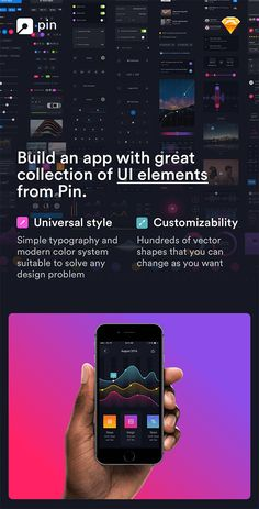 Description Pin is a huge set of pre-made UI elements that will help you to speed up your app design process. With hundreds of UI elements like buttons, switchers, tabs, bars, and over 50...
