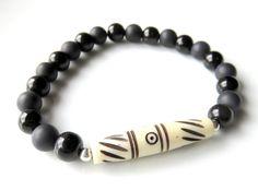 Mens Gemstone Bracelet  Unisex Stretch by JemsbyJBandCompany