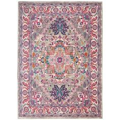 Passion Light Grey/Pink Area Rug Colorful Oriental Center Medallion By Nourison : Target Persian Motifs, Persian Rug, Colorful Drawings, Colorful Rugs, Target Rug, Palette, Modern Area Rugs, Indoor Rugs, Rug Material