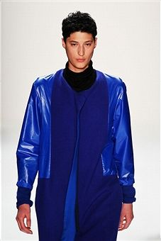 Blue Leather at Vladimir Karaleev AW 2013 #MBFWB