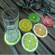 PHT Set of 6 Fruit Slice Silicone Drink Coaster Novelty Design Non-slip Cool Coasters, Drink Coasters, Fruit Slices, Silicone Coasters, Coaster Set, Orange, Fused Glass, Serving Bowls, Pineapple
