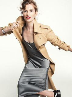 Michael Kors gray slip dress with camel trench and black patent loafers