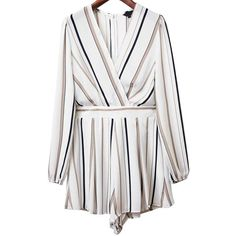 White Stripe Deep V Neck Belted Romper (340.780 IDR) ❤ liked on Polyvore featuring jumpsuits, rompers, deep v neck romper, striped romper, white romper, white rompers and stripe romper