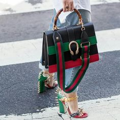 Street chic with Gucci bag.