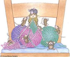"""Close knit family"" from House-Mouse Designs Maus Illustration, Good Morning Animation, House Mouse Stamps, Mouse Pictures, Mouse Color, Knitting Humor, Knitting Help, Knitting Wool, Knit Art"