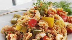Opskrift på ris med tomater og rejer