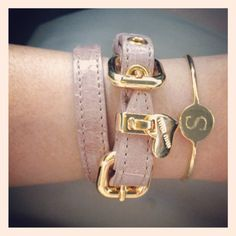 Miu Miu croc print leather bracelet + Sarah Chloe engraved bangle