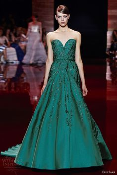 elie saab fall winter 2013 2014 couture strapless sweetheart green dress