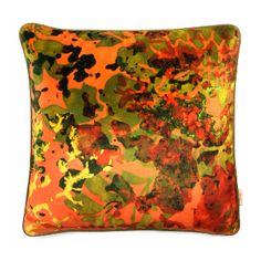 Orange Rose Square Printed Velvet Cushion: A luxurious printed velvet cushion with feather filled pad. Contrast fabric back. Susi Bellamy creates vibrant, colorful 'art for the sofa' textiles based on original and unique artwork painted in the studio. Her artwork is inspired by her great love of colour and the time she spent in Florence, Italy. These cushions work well in groups - adding a pop of color to both classic and contemporary interiors. Feather Filled Pad. Designed, Printed and Made…