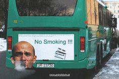 Deze grappige antirookcampagne staat op een Nederlandse stadsbus.