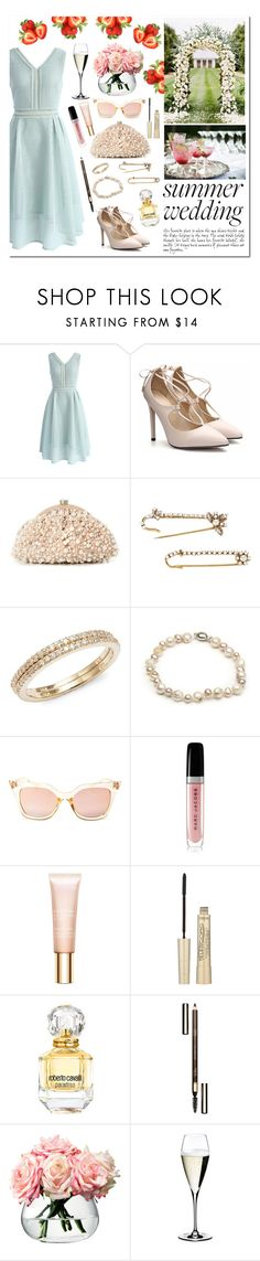 """""""Summer Wedding"""" by linmari ❤ liked on Polyvore featuring Chicwish, Santi, Erickson Beamon, Effy Jewelry, Arabian Silver, Quay, Marc Jacobs, Clarins, L'Oréal Paris and Roberto Cavalli"""
