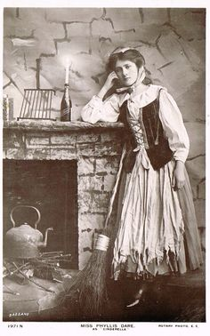 Miss Phyllis Dare as Cinderella, Edwardian English Theatre Actress in Fancy Folkloric Costume, Rare Original 1900s Photo Postcard by Rotary