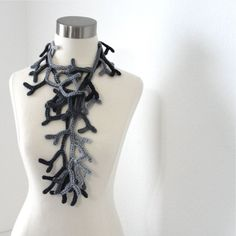 Crocheted Art Scarf: Petite Enchanted Forest Lariat Women Crocheted Scarf Fiber Jewelry in Gray Mist  Original design by kanokwalee.