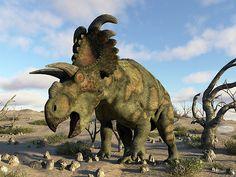 Albertaceratops Dinosaur In The Desert - Render by Elenarts - Elena Duvernay Digital Art Dinosaur Art, Monster Hunter, Jurassic World, Prehistoric, Fine Art America, Beast, Deserts, Digital Art, Lion Sculpture