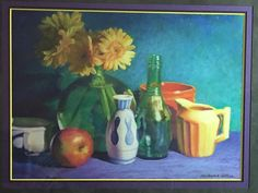 """Holiday Gift-Framed Vases with Daisies, Original Pastel Painting, Custom Framed 23"""" x 19"""""""