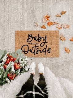 Baby its cold outside fall decor hello welcome mat hand Seasonal Decor, Fall Decor, Front Door Mats, Front Porch, Diy Door Mats, Its Cold Outside, Welcome Mats, Winter Christmas, Christmas Time