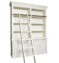 Making 13' tall bookcases for the office. This ladder idea is great!
