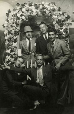 wehadfacesthen:  maximien:  Cecil Beaton, Jean Cocteau, George Platt Lynes, Glenway Wescott, at Coney Island, 1930's  A gay gathering. I think that's Westcott's lover Monroe Wheeler on the far right
