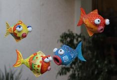 Paper Mache Fish | ... > Andre Senasac > Andre Senasac Gallery > Four Tropical Fish Mobile - Crafting For Holidays