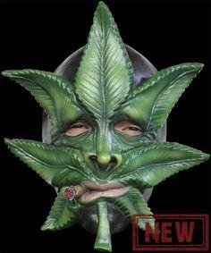 Smoking Hot Weed Mask Funny Marijuana Pot Face Adult Halloween Costume Accessory   eBay