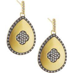 Freida Rothman Pav& Clover Teardrop Earrings ($110) ❤ liked on Polyvore featuring jewelry, earrings, four leaf clover jewelry, 14k jewelry, four leaf clover earrings, earring jewelry and post earrings