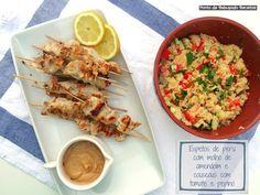 Ponto de Rebuçado Receitas: Espetos de peru com molho de amendoim e couscous c...