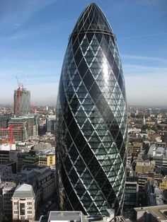 """""""The Gherkin"""" London. By Norman Foster. Norman Foster, Gherkin London, London Village, Places Around The World, Around The Worlds, Swiss Re, 30 St Mary Axe, Boston City Hall, London Landmarks"""
