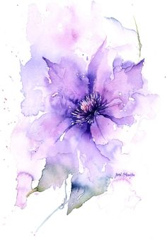 761 best florals and flower illustration images in - purple flower watercolor Watercolor Cards, Abstract Watercolor, Watercolour Painting, Watercolor Flowers, Watercolors, Watercolor Artists, Watercolor Portraits, Watercolor Landscape, Alcohol Ink Painting