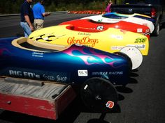 Taking the Soap Box Derby Cars up to the top